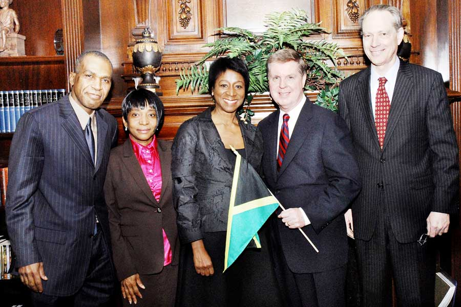 Consul General of Jamaica, Geneive Brown Metzger (centre) and Dr. Steven Metzger (right), join (from left) President of Intercessory Prayer Ministry International (IPMI), Rev. Newton Gabbidon and Mrs. Gabbidon; and Pastor of Brooklyn Tabernacle Church, Rev. Jim Cymbala, at special prayer service for Jamaica held at the Brooklyn Tabernacle Church in New York in March 2010.